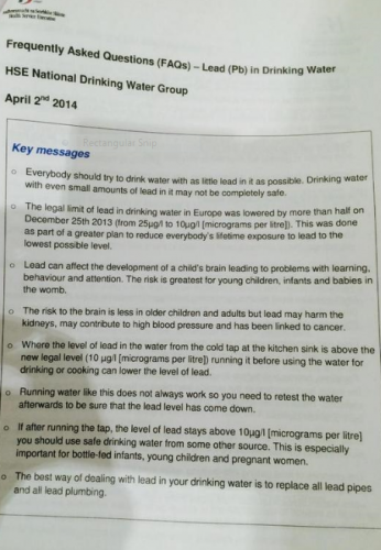 HSE Advise on Lead (ref John Fitz) high lead levels