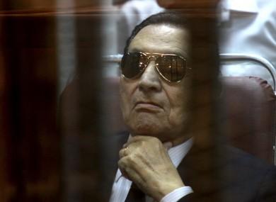 File photo of Mubarak attending a hearing.
