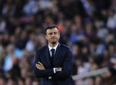 FC Barcelona's coach Luis Enrique looks on during tonight's match.