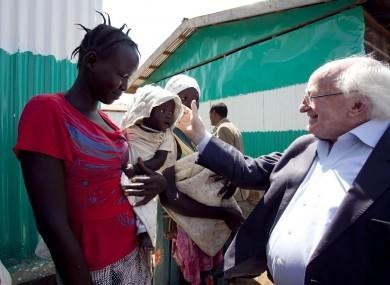 President Higgins visits GOAL Nutrition Centre, Tierkadi Refugee Camp