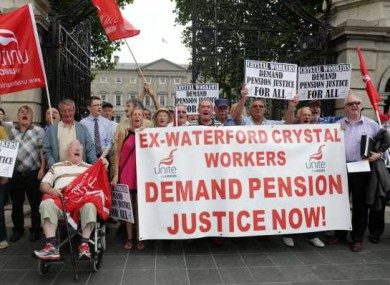 File Photo: Waterford Crystal Pensions Protest outside Leinster House in 2013