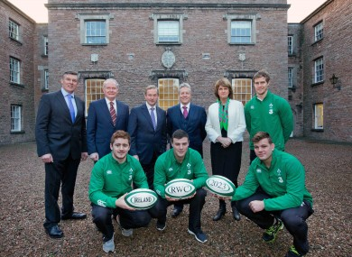 Philip Browne, Martin McGuinness, Enda Kenny, Peter Robinson and Joan Burton with Andrew Trimble, Paddy Jackson, Robbie Henshaw and Jordi Murphy.