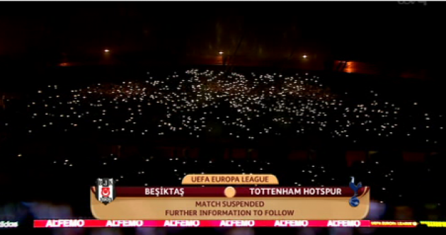 The lights went out twice during the Besiktas-Tottenham game tonight
