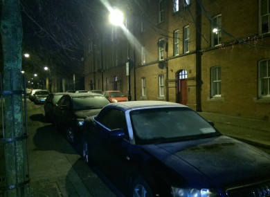 Cars iced over in Dublin this morning