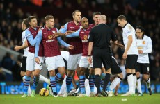 FA overturn Gabby Agbonlahor's Man United red card but charge Aston Villa instead