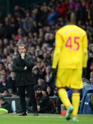 Rodgers during Sunday's defeat to Manchester United.