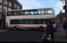 Bus driver attempts three-point turn on narrow street, goes as well as expected