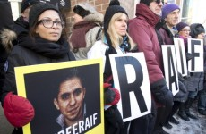 Protest outside Saudi Embassy for blogger sentenced to 1,000 lashes for insulting Islam