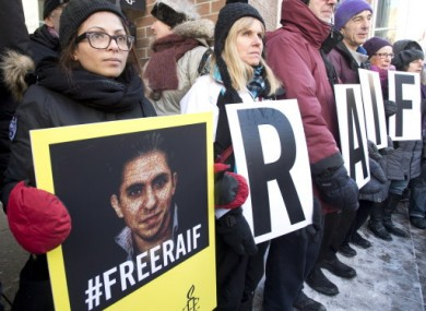 Ensaf Haidar, left, wife of blogger Raif Badawi, takes part in a rally for his freedom, Tuesday, January 13, 2015 in Montreal.