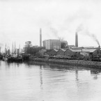 The exterior of the National Shell Factory at Parkgate Street, Dublin, during the First World War.