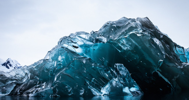 Deep, deep blue: This is what a flipped-over iceberg looks like