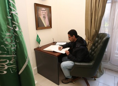 There's a book of condolence in the Royal Embassy of Saudi Arabia in Dublin.