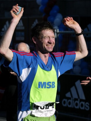 Tony Mangan completed his run around the world in 2014 (file pic).