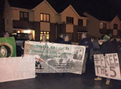 Last night's protest outside the deputy's home.