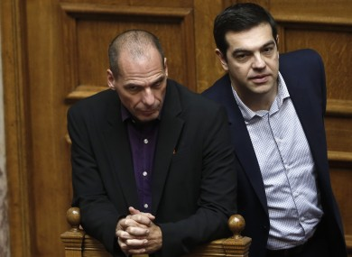 Greek Minister Alexis Tsipras, right and his Finance Minister Yanis Varoufakis.