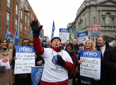 Nurses and former patients protest outside Leinster House last month.