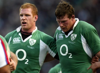 Paul O'Connell and Malcolm O'Kelly during Ireland's game against the Pacific Islands at Lansdowne Road in 2006.
