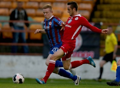 Connolly (right) in action for Shels.