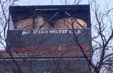 'No Irish Water Tax' graffiti on New York building