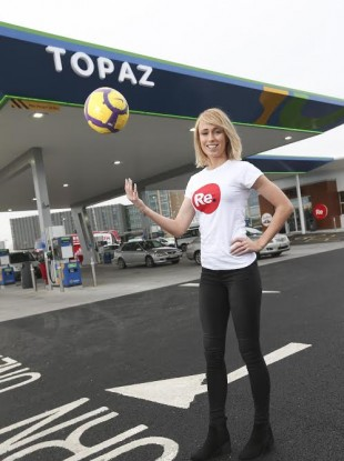 FIFA Puskas Award finalist Stephanie Roche opening a new Topaz station.