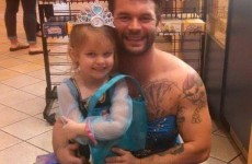 This little girl was embarrassed to wear her princess dress outside, so her uncle did too