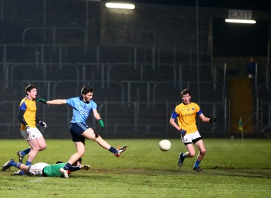 Colm Basquel fires to the net for Dublin tonight.