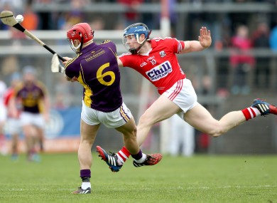Cork's Conor Lehane in action against Wexford's Lee Chin.