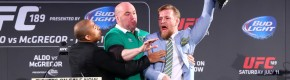 McGregor snatched Aldo's belt – and it very nearly kicked off in the Convention Centre