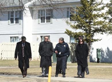 Investigators at the scene yesterday.