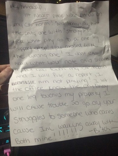 Amputee called 'cry baby one leg' after neighbour takes her parking space