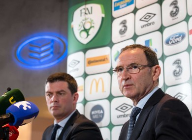 O'Neill at today's press conference in Bank of Ireland. Grand Canal Square.