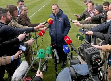 O'Neill talking to the media in Malahide.