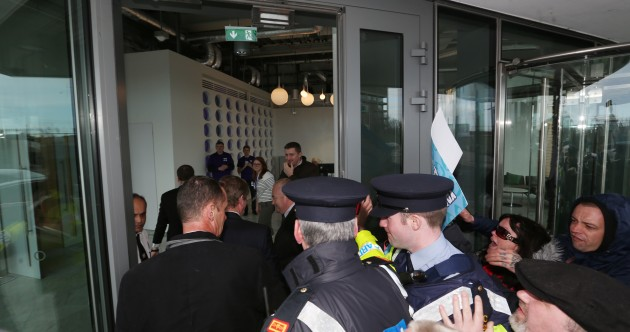 Gardaí keep protesters from Taoiseach amid shouts of 'traitor' and 'parasite'