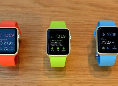 A a selection of the new and colourful Apple Watches