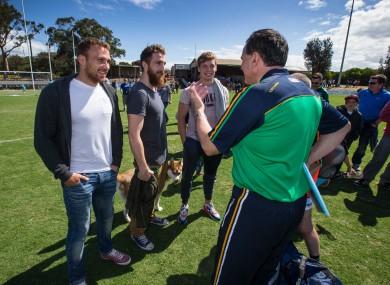Ciaran Sheehan, Zach Tuohy and Ciaran Byrne with Irish International Rules boss Paul Earley.