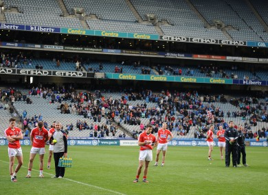 Disappointment for the Cork players after yesterday's loss.