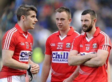 Daniel Goulding, Paul Kerrigan and Noel Galvin: Cork trio come to terms with their 11-point defeat.
