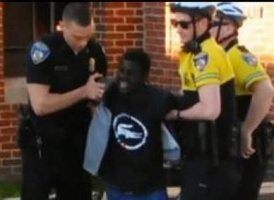 Screengrab from footage of police arresting Freddie Gray on 12 April.