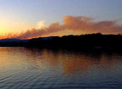 Smoke plume from a string of fires along the southern side of the Iveragh Peninsula at sunset tonight.
