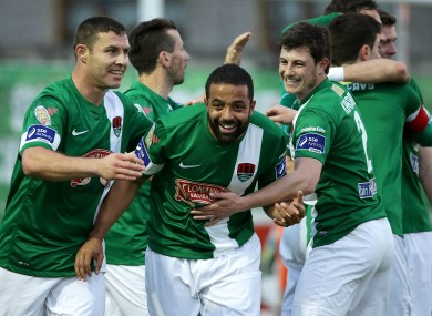 Cork City's Mark O'Sullivan and John Kavanagh congratulates goalscorer Kieran Djilali.