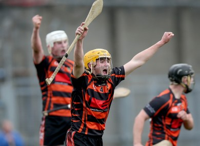 Paddy Joe Graham of Ballycastle celebrates at the final whistle.
