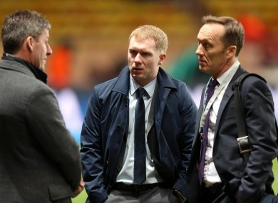 Scholes with fellow ITV pundits Lee Dixon and former Ireland skipper Andy Townsend.