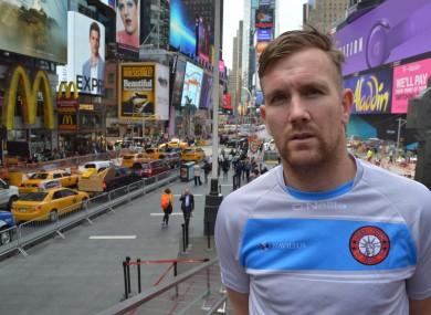 PJ Banville pictured in Times Square this week.