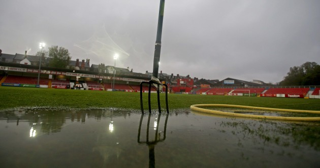 There was a mini swimming pool forming on the pitch at Richmond Park yesterday