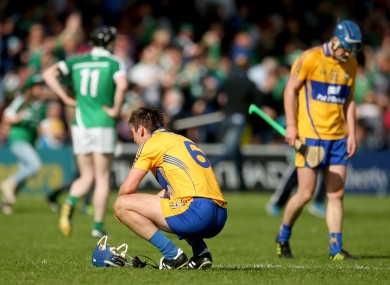 Clare's Conor Ryan dejected at the final whistle.