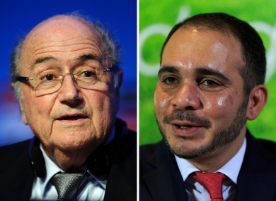 File photos of the two contenders in the FIFA presidential election Sepp Blatter (left) and Prince Ali Bin Al Hussein (right).