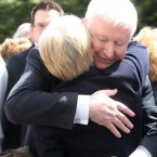 Frank Flannery, Fine Gael's former Director of Organisations and Strategy and consultant for Rehab, hugs Hillary O'Herlihy