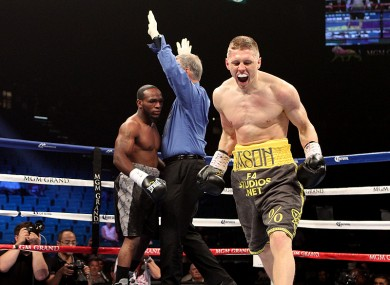 Jason Quigley celebrates stopping Howard Reece last year.