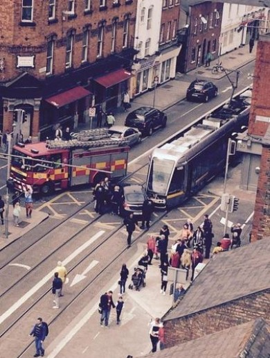 Delays on Luas Red Line after collision with car