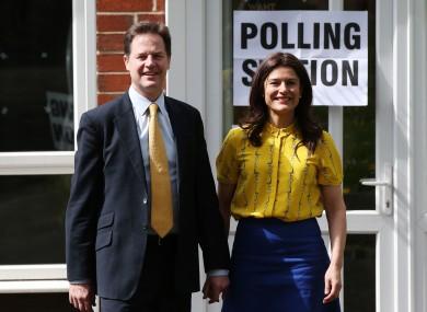 Liberal Democrat leader Nick Clegg with his wife Miriam González Durántez